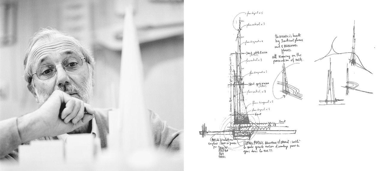 Ренцо Пиано и скица на The Shard