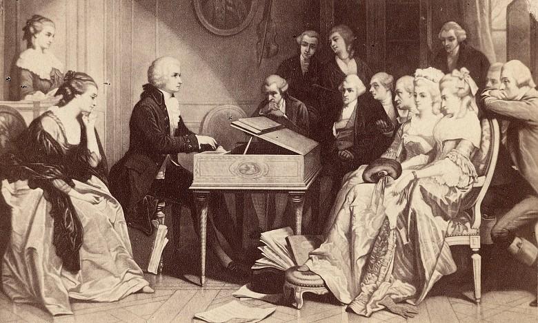 Моцарт свири на клавесин пред отбрана публика - произведение  на белгийският художник Едуард Хаман.