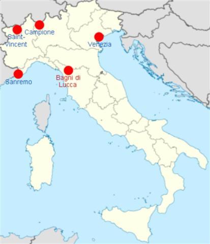 Карта с казината в Италия