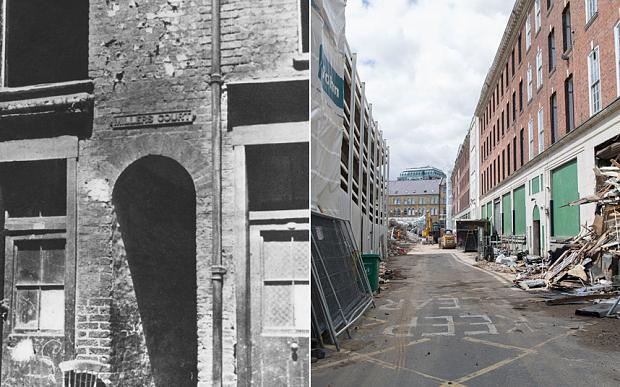 """Милърс корт на улица """"Дорсет"""", където е убита Мери Джейн Кели, преди и сега"""