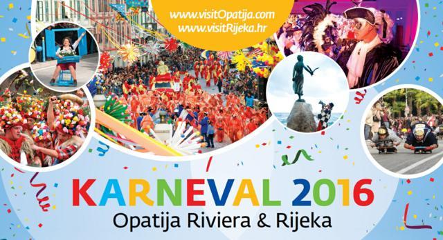 Постер на пролетния карнавал в Опатия и Риека през 2016 г.