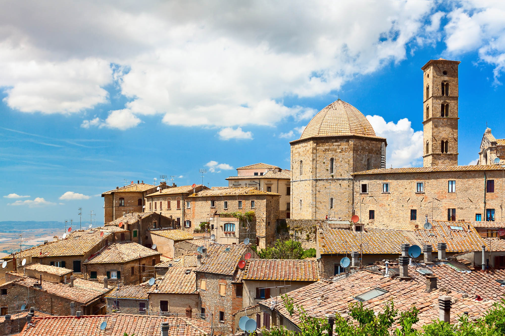 """View of the roofs of a small town """"Volterra"""" in Tuscany, Italy"""