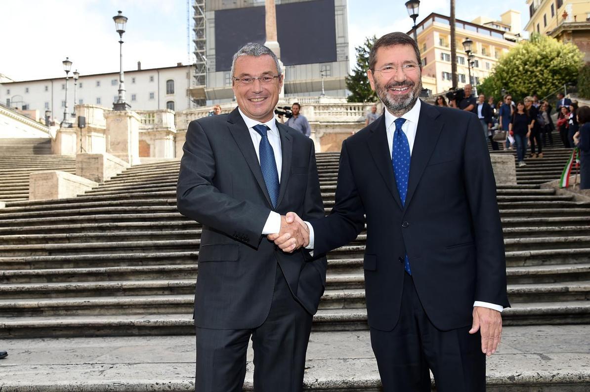 Жан-Кристоф Бабен с кмета Игнасио Марино