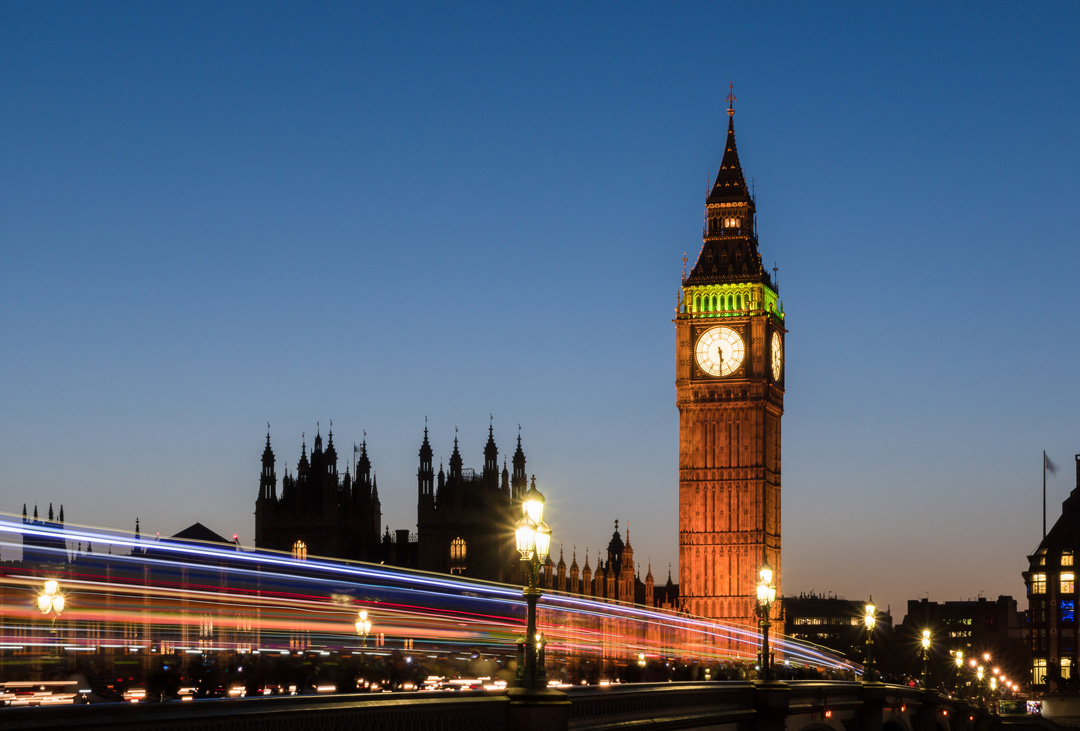 Light trails on Westminster Bridge